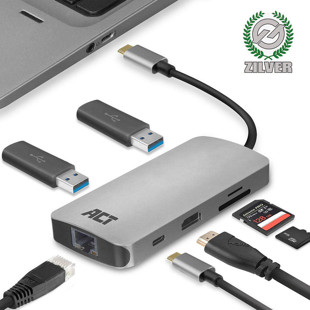 USB-C to HDMI multiport adapter with ethernet, USB hub, cardreader and PD pass through