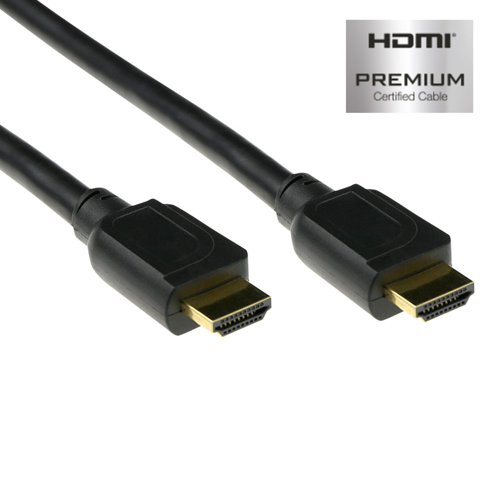 0.5 meter High Speed Ethernet premium certified cable HDMI-A male - HDMI-A male