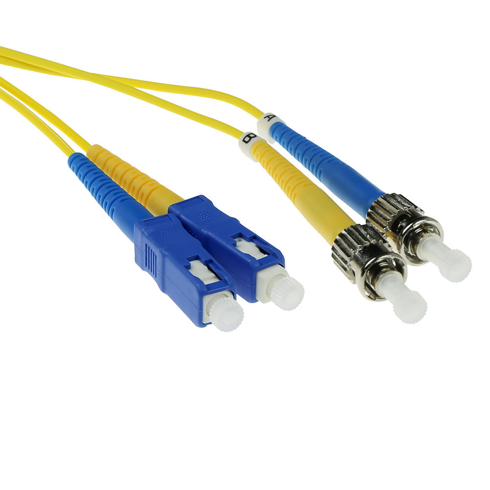 1 meter LSZH Singlemode 9/125 OS2 fiber patch cable duplex with SC and ST connectors