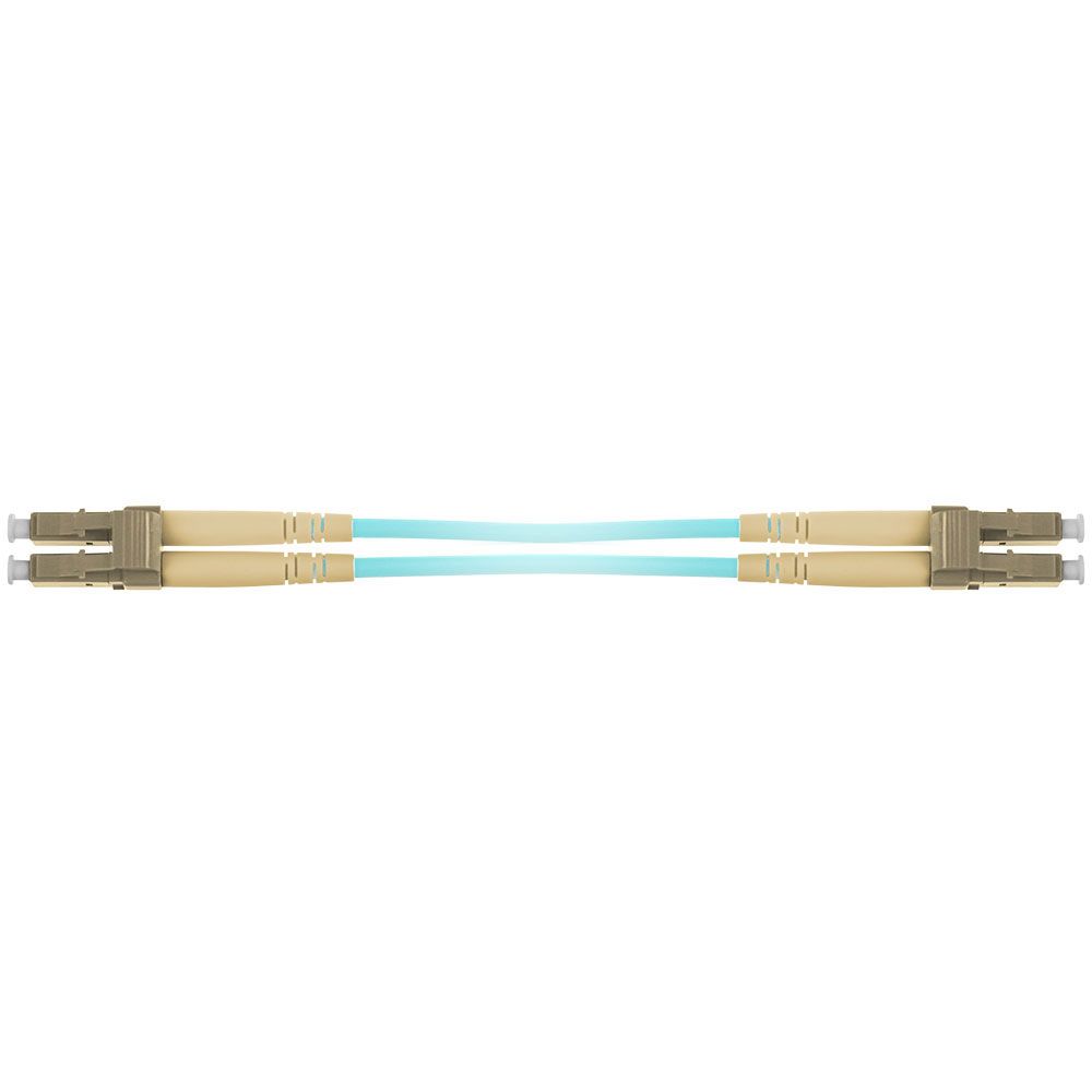 15 meter multimode 50/125 OM3 duplex armored fiber patch cable with LC connectors