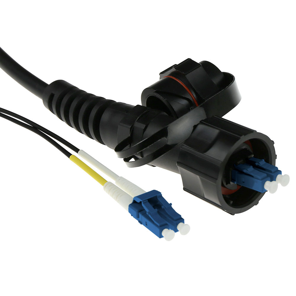 40 meter singlemode 9/125 OS2 duplex fiber patch cable with LC and IP67 LC connectors