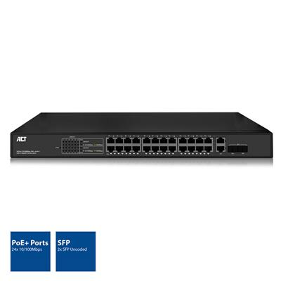 "24 port, network switch, 10/100Mbps. 24x PoE+ (30W) port, 2 Gigabit combo/uplink ports for 2 uncoded SFP modules, 19"" mountable"