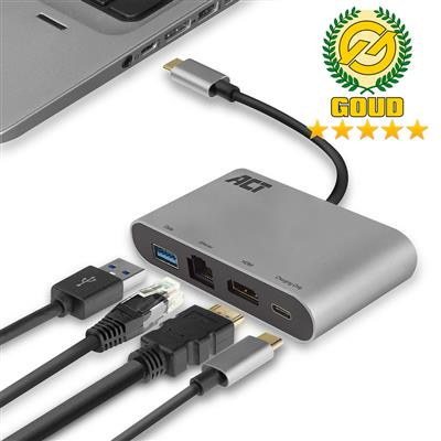 USB-C to HDMI multiport adapter with ethernet, USB hub and cardreader