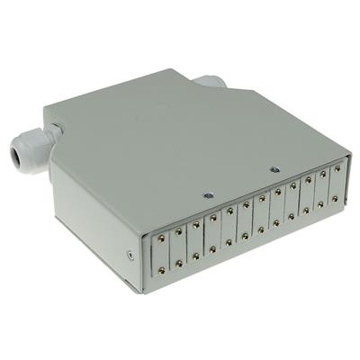 DIN rail fiber optic terminal box unloaded, 12 ports