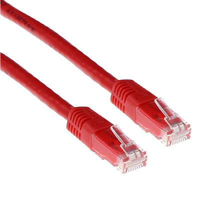 Red 10 meter LSZH U/UTP CAT6 patch cable with RJ45 connectors