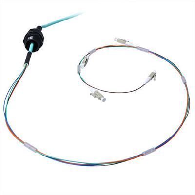 70 meter Multimode 50/125 OM3 fiber tight buffer cable 4 way with LC connectors