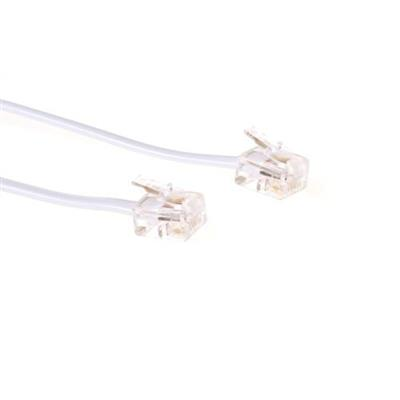 White 3 meter flat telephone cable with RJ11 connectors